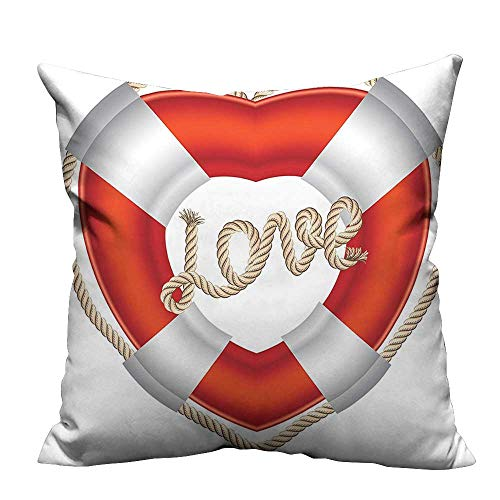 YouXianHome Sofa Waist Cushion Cover Buoy He Shaped Life Belt Valentine Affecti H eymo Romantic Decorative for Kids Adults(Double-Sided Printing) 27.5x27.5 inch ()