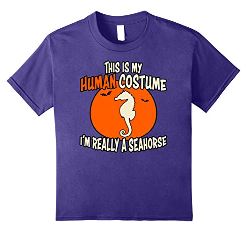 Sea Monster Costumes Ideas (Kids I'm Really a Seahorse This is My Human Costume Halloween Tee 8 Purple)