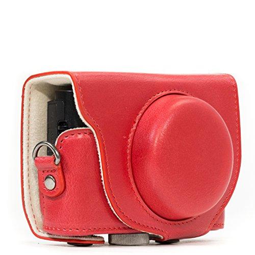 MegaGear MG1139 Sony Cyber-shot DSC-RX100 VI, DSC-RX100 V, DSC-RX100 IV, DSC-RX100 III Ever Ready Leather Camera Case with Strap - Red