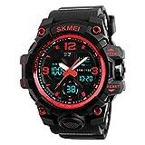 SKMEI Reloj para Hombre Digital y Análogo Deportivo y Militar Retroiluminación Resistente al Agua con Cronómetro Alarma y Fecha Modelo 1155B. Negro