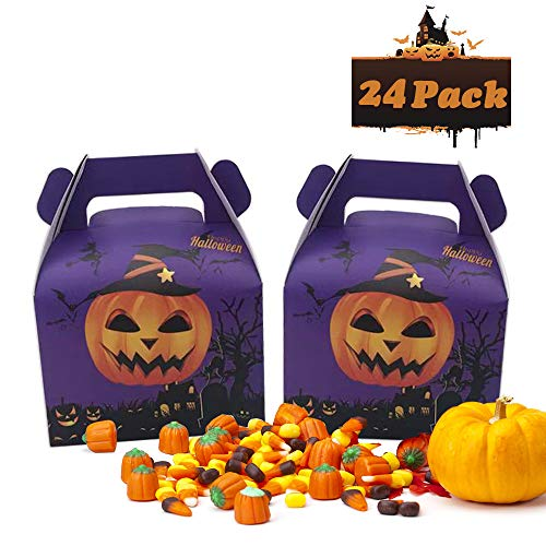 Charlie Brown Halloween Birthday Party (24pcs Halloween Favor Candy Boxes Pumpkin Treat Bags for Halloween Party Decorations Kids Birthday Party)