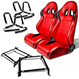 Honda Civic/Acura Integra DB DC Pair of PVC Faux Leather Racing Seats (Red)+Seat Bracket+4-Point Camlock Black Belt