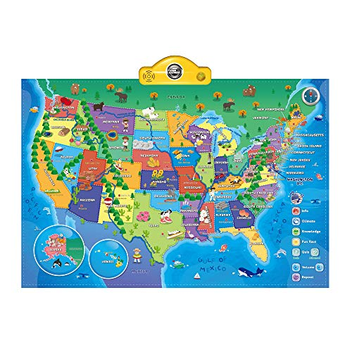 Interactive Talking USA Map for Kids TG660 - Push, Learn and Discover Over 500 Facts About The USA - Fun Educational Interactive Learning Toy Gift for Boys & Girls Aged 5,6,7,8,9,10 - by ThinkGizmos