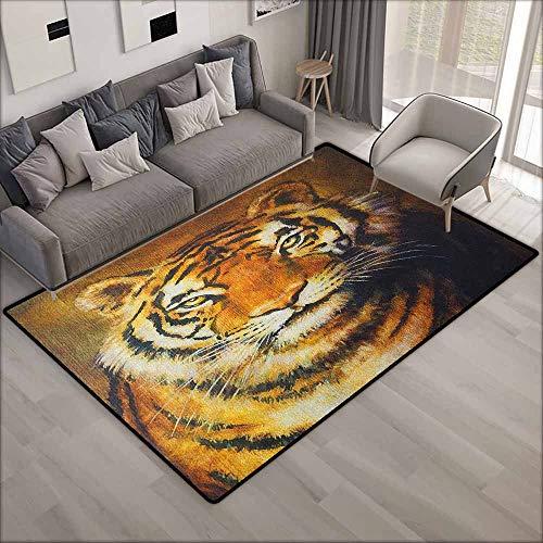 Indoor/Outdoor Rug,Tiger Oil Painting Style Big Cat Purposeful Eyes Carnivore Bengal Feline of East,Anti-Slip Doormat Footpad Machine Washable,5'6