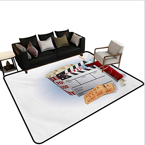 Custom Pattern Floor mat,Soda Tickets Fresh Popcorn and Clapper Board Blockbuster Premiere Cinema 6'x8',Can be Used for Floor Decoration ()