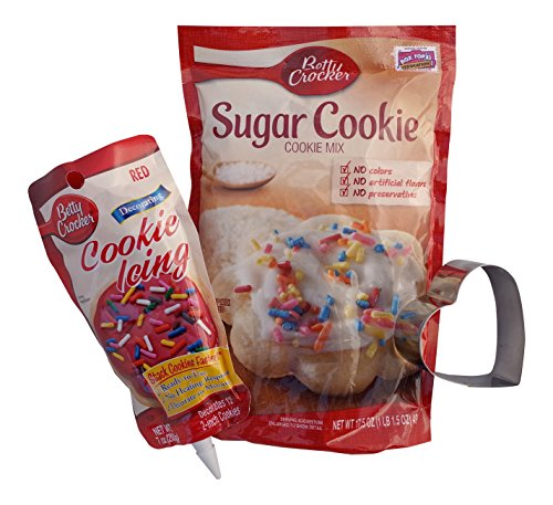 Valentines Day Cookie Mix and Decorating Kit Including Cookie Mix, Heart Shaped Cookie Cutter, and Cookie Icing (Bundle)