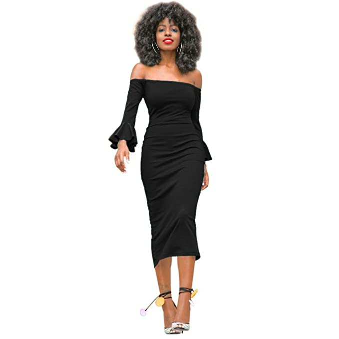 dc25e923440a Women Off Shoulder Long Sleeve - Ruffle Slim Fit Bodycon Cocktail Party  Midi DressS Black