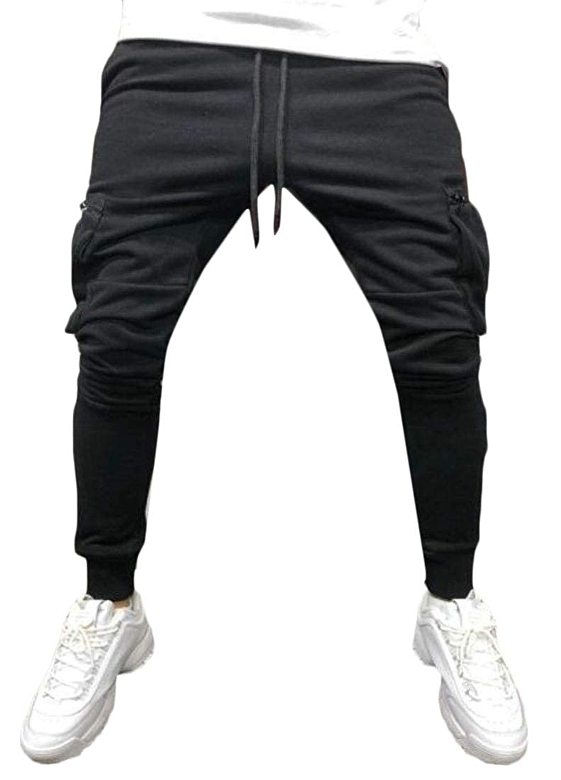 UUYUK Men Gym Trainning Contrast Jogger Trousers Hip Hop Drawstring Sport Sweatpants Pants Trousers