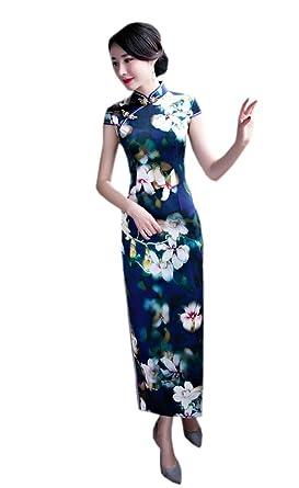 YueLian Damen Lang Cheongsam Elegant Retro Kurzarm Qipao Etuikleid ...