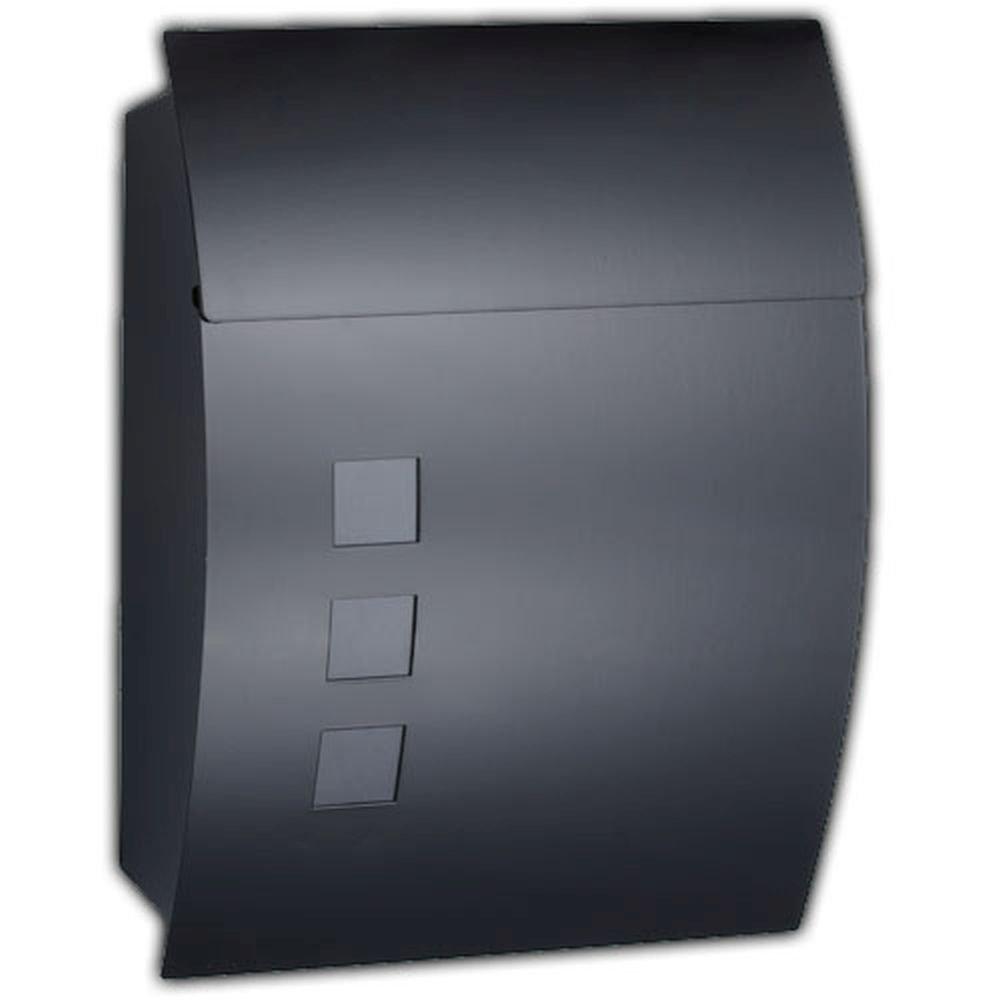 Montagematerial /& 2 Schl/üssel! Inkl Design mit satinierten Sichtfenstern HAC24 Designer Briefkasten Schwarz Postkasten Mailbox Zeitung