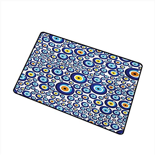 BeckyWCarr Evil Eye Inlet Outdoor Door mat Traditional Turkish Charm Luck Sign Pattern Vivid Bead Figures Graphic Catch dust Snow and mud W23.6 x L35.4 Inch,Blue Orange Yellow ()