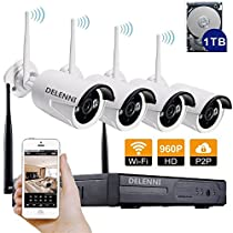 DELENNI 4CH WIFI NVR Wireless Security CCTV Cameras with 4 Outdoor Wireless 720P Wireless IP Night Vision Outdoor Surveillance CCTV Camera Home Security Surveillance Kits (960P 1TB hard disk)