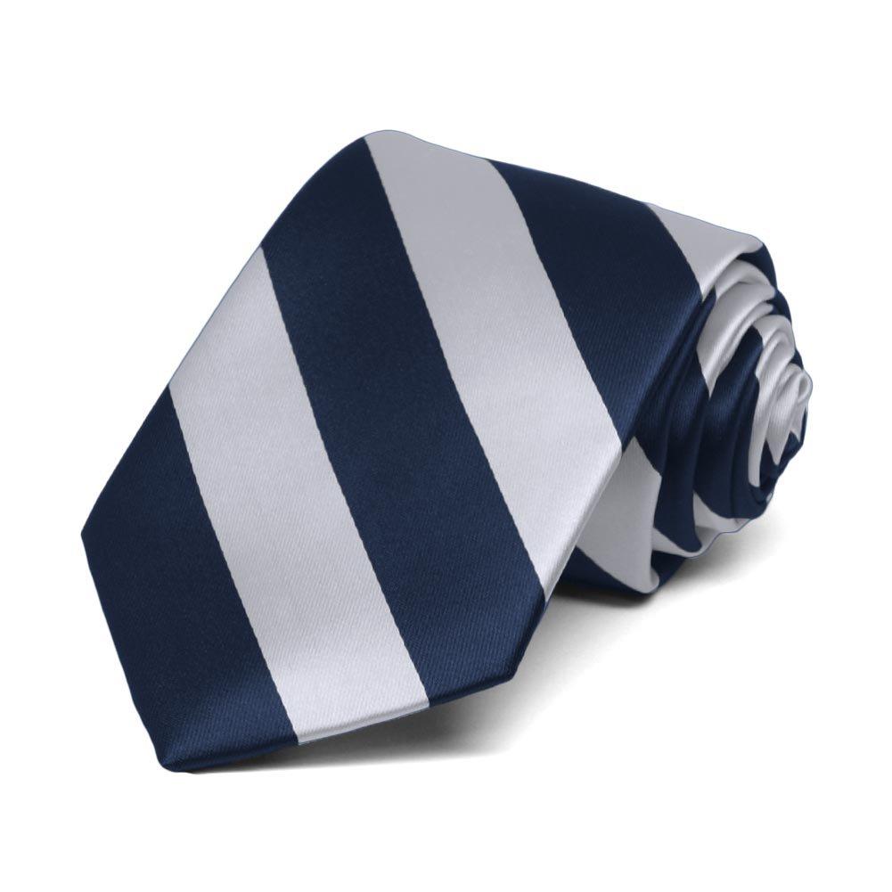 TieMart Boys Navy Blue and Silver Striped Tie