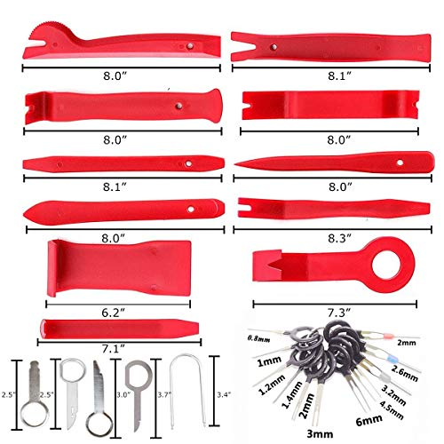 Rabbica Car Trim Removal Tool 30pcs Auto Door Panel Removal Tool for Dash Center Console Installation and Remover with Terminal Removal Tools (red) by Rabbica (Image #1)