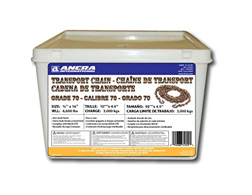 Ancra 45881-11-16-SP Transport Chain with Grab Hooks, Grade 70, 3/8-Inch by 16-Feet, Plastic Pail