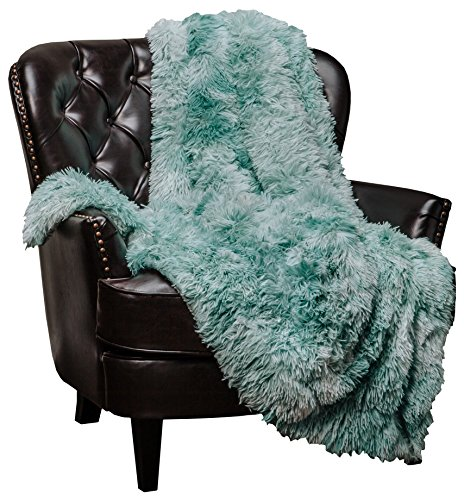 Aqua Blue Fur (Chanasya Super Soft Shaggy Fuzzy Fur Fluffy Faux Fur Warm Elegant Cozy with Sherpa Color Variation Pattern Print Plush Aqua Teal Microfiber Throw Blanket (50