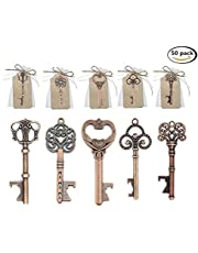 50PCS chiave apribottiglie per decorazione di Sacchetti di ricordi di Matrimonio, Stile Vintage,5stili