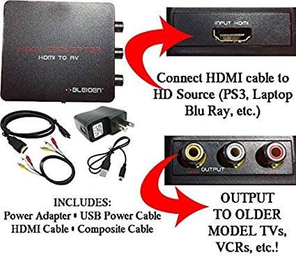 Amazon Com Hdmi To Composite Av Converter For Laptop Blu Ray Nvidia Shield Android Tv Ps4 Ps3 And Other Hdmi Devices Use With Old Tvs That Do Not Have Hdmi Input Home Audio