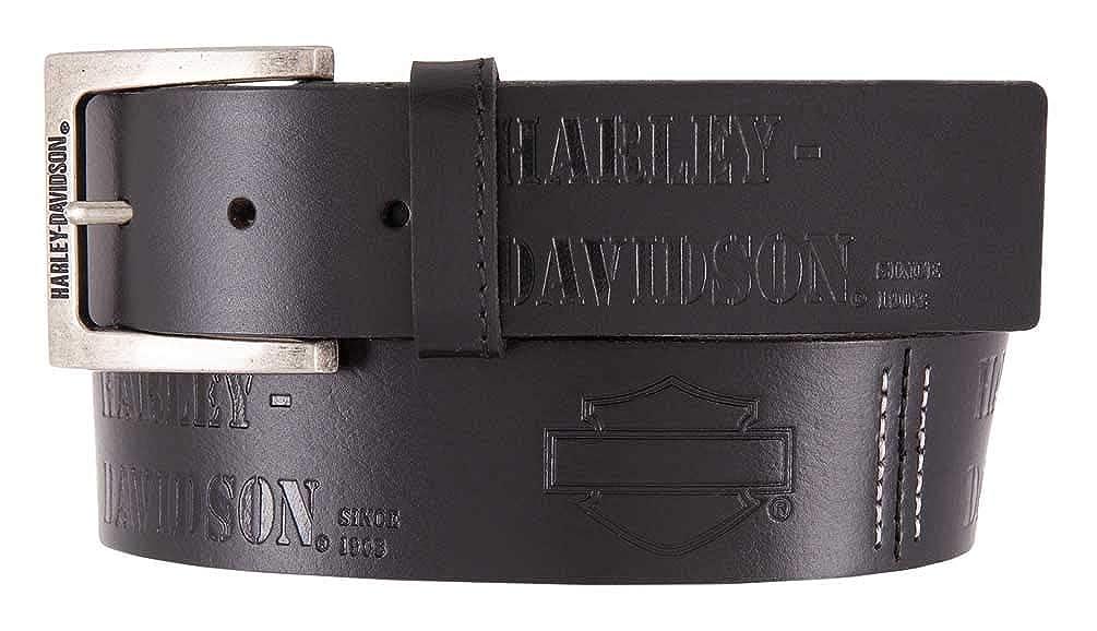 Solid Black HDMBT11617 Harley-Davidson Mens Gunner Genuine Leather Belt