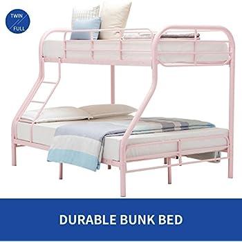 DFM Twin over Full Bunk Bed Metal Ladder Kid Teen Dorm Loft Bedroom Furniture,Pink