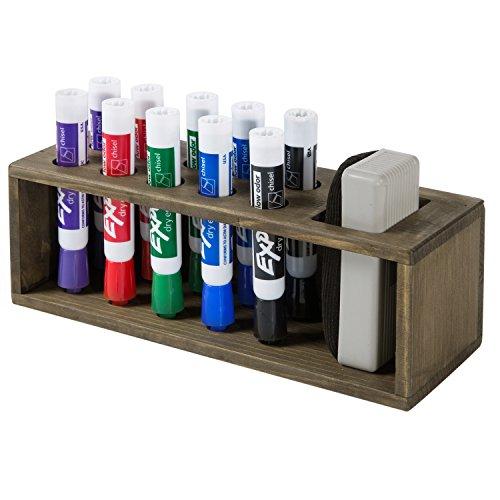 10 Slot Rustic Wood Wall Mounted Dry Erase Marker & Eraser Holder Storage Organizer, Brown by MyGift (Image #4)