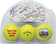 Callaway Warbird Personalized Yellow Golf Balls 3-Pack with 20 Imprinted Tees