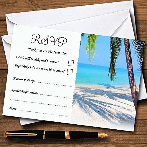 Tropical Beach Palm Tree Personalized RSVP Cards