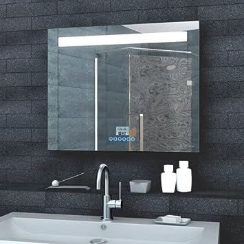 Badezimmerspiegel Wandspiegel Lichtspiegel LED Beleuchtung Uhr Radio ...