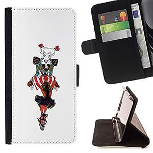 Momo Phone Case / Flip Funda de Cuero Case Cover - Gráfico de la mujer de moda colorida del payaso Arte - Samsung Galaxy E5 E500