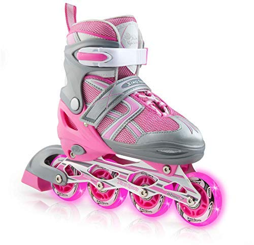XinoSports-Kids-Inline-Skates-for-Girls-Boys-Adjustable-Roller-Blades-with-LED-Illuminating-Light-Up-Wheels-Youth-Skates-Can-Be-Used-Indoors-Outdoors