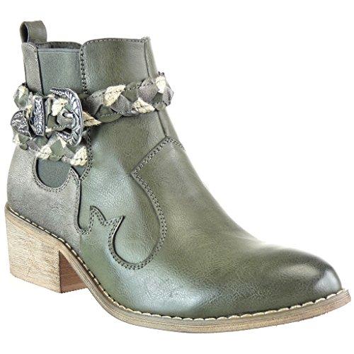 Angkorly - Chaussure Mode Bottine chelsea boots cavalier santiags - cowboy femme lanière tréssé boucle Talon bloc 5 CM - Vert