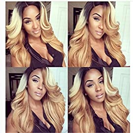 Brazilian human hair Ombre blonde Full lace wigs Dark root Loose wave Bleached knot Pre plucked hairline 180% density Lace front wig (16″, full lace wig)