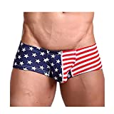 Vickyleb Men's Sexy Underwear Soft Flag Striped Bulge Pouch Boxer Briefs Knickers Shorts Men Underpants Red