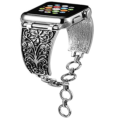 Aokon Bling Bands for Apple Watch Band 38mm 42mm, Vintage Chain Jewelry Bracelet with Rhinestone Bling Replacement Wristband Sport Strap for Apple Watch Nike+, Series 3, Series 2, Series 1 from AOKON