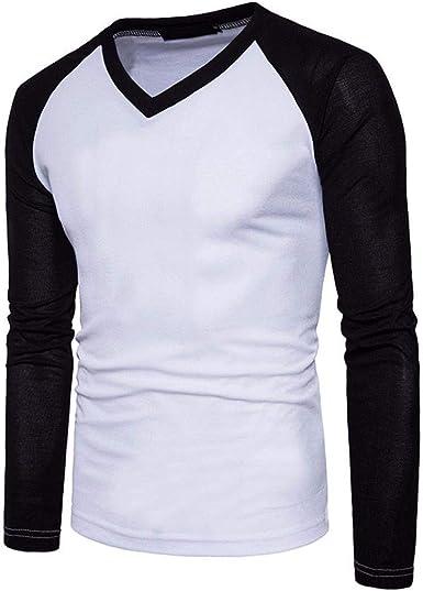 Camisa Larga De Los Hombres Slim Fit Tops V Blusa Top Cuello ...
