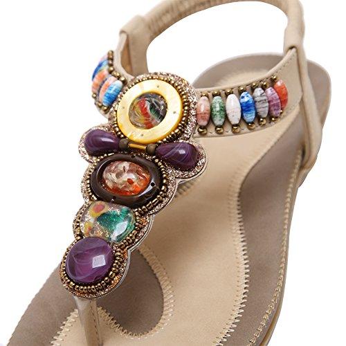 Gladiator Flat Beach Bohemian Apricot Beads fereshte 800 No Sandals Flip Flop Thong Dress Womens 5XUW8qxv