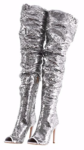 (Women's Fashion Peep Toe Sparkle Sequins Thigh High Over Knee Pupms Heel Christmas Party Dance Boots Silver Size 7.5)