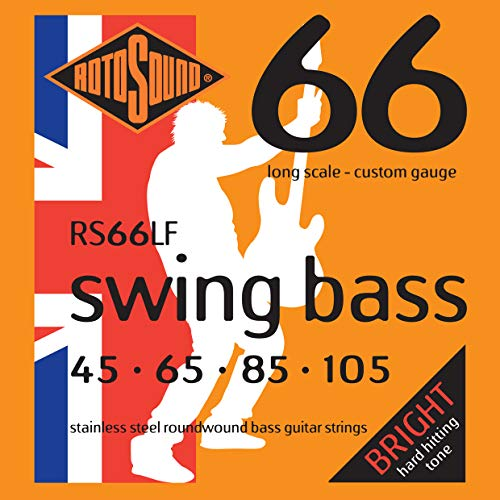 Rotosound RS66LF Swing Bass 66 Stainless Steel Bass Guitar Strings (45 65 85 - 66 Die