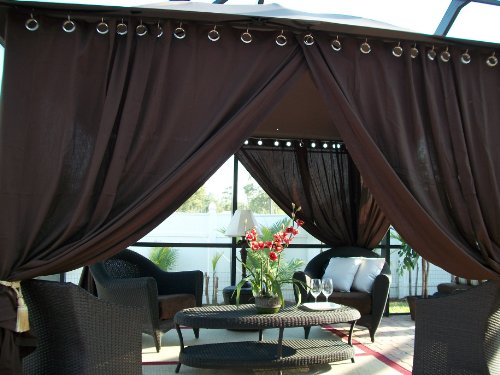 Wow! Includes 2 panels Indoor Outdoor patio drapes Rich Brown 42x95