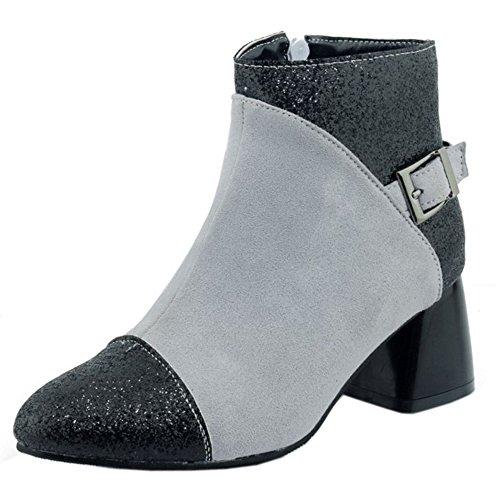 RAZAMAZA Women Fashion Glitter Buckle Strap High Heel Ankle Booties Grey byI2fWSc4