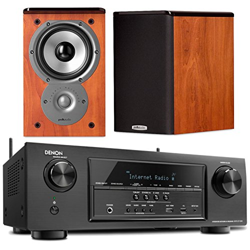 Denon AVR S710W Receiver Bundle With Polk TSi100 Bookshelf Speakers In Cherry