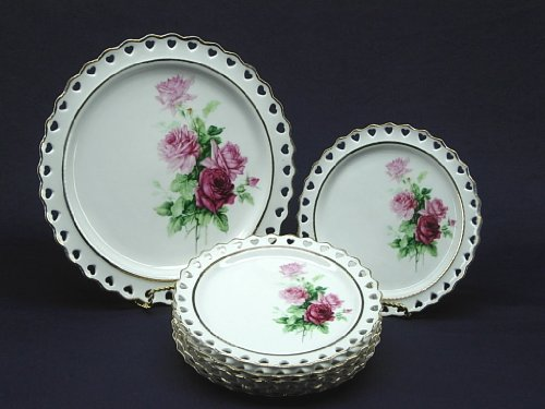 UPC 019464211129, 7-Piece Serving Plate Set for 6 with golden floral design with heart shaped