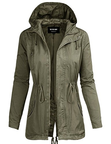 Drawstring Anorak - ViiViiKay Womens Cotton Anorak Lightweight Utility Parka Jackets with Drawstring 43J OLIVE S