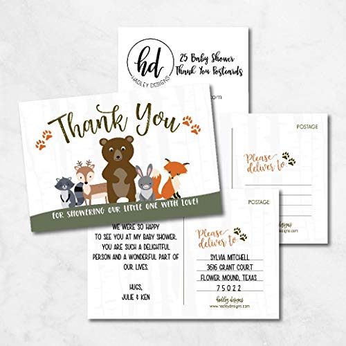 25 Girl or Boy Woodland Baby Shower Thank You Note Card Bulk Set, Blank Cute Animals Gender Reveal Neutral Sprinkle Postcards, No Envelope Needed For Party Gift, Personalize Printable Cardstock Photo #5