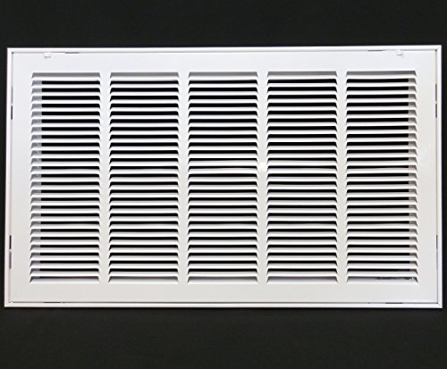 25'' X 16 Steel Return Air Filter Grille for 1'' Filter - Removable Face/Door - HVAC DUCT COVER - Flat Stamped Face - White [Outer Dimensions: 27.5''w X 18.5''h] by HVAC Premium