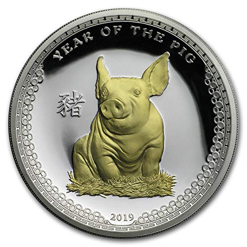 2019 DE Palau 1 oz Silver $5 Year of the Pig (Gilded Gold) 1 OZ About Uncirculated