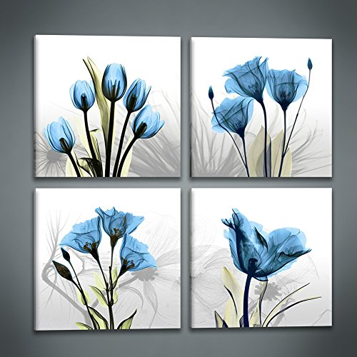 Flower Pictures Tulips (Cappla Art Abstract Blue Tulip Flower Painting Canvas Picture Print Wall Art Modern Elegant Artwork for Living Room Home Decor)