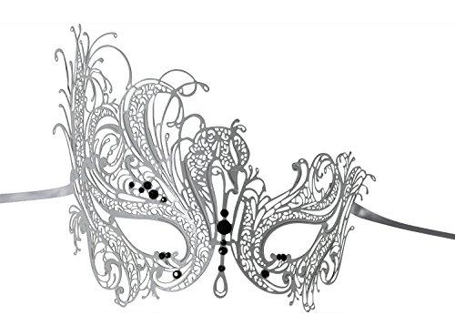 [Luxury Mask Women's Swan Metal Filigree Laser Cut Venetian Masquerade Mask, White/Black Stones, One] (White Mardi Gras Mask)