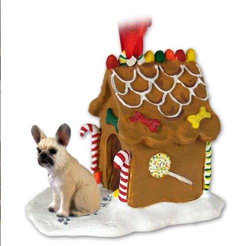 - FRENCH BULLDOG Fawn Dog NEW Resin GINGERBREAD HOUSE Christmas Ornament 73B