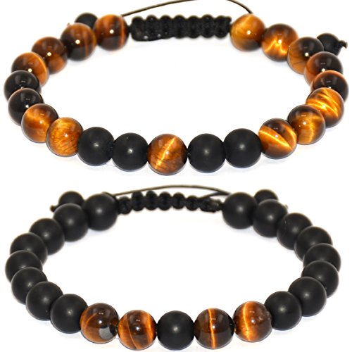 Massive Beads Natural Matte Finish Black Agate Onyx Tiger Eye Stone Healing Power Energy Crystal Gemstone Beaded Distance Bracelet for Men and Women(Set of 2)